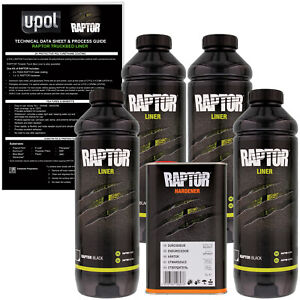 U pol Raptor Black Urethane Spray on Truck Bed Liner Texture Coating 4 Liters