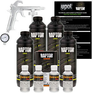 U pol Raptor Tintable Bright Silver Spray on Truck Bed Liner Spray Gun 4 Liters