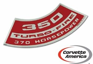 Chevrolet Corvette Chevy 350 Turbo Fire 370 Hp Air Cleaner Decal