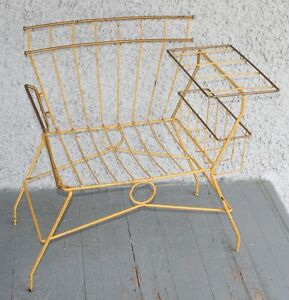 Vintage Eclectic Modern Metal Wire Chair Bent Steel Magazine Rack Frame Rare