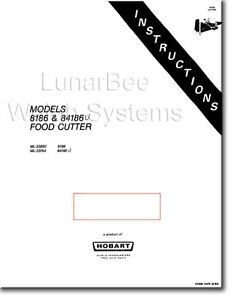 Hobart 8186 84186 Food Cutter Operation Instruction Parts And Service Manuals