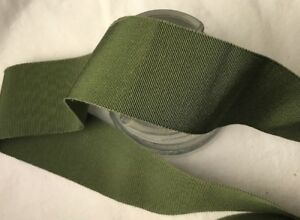 Bty 2 Army Green Vtg Cotton Rayon Grosgrain Petersham Ribbon Millinery Hat