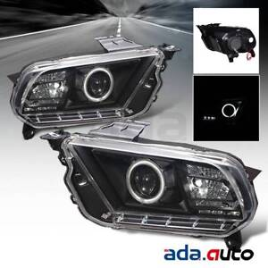 2010 2014 Ford Mustang dual Ccfl Halo Projector Black Headlights Pair