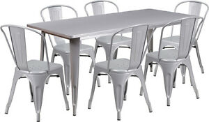 31 5 X 63 Rectangular Silver Metal Restaurant Table Set With 6 Stack Chairs
