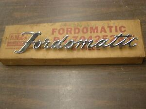 Nos Oem Ford 1952 Fordomatic Deck Lid Emblem Script Ornament Stainless Steel