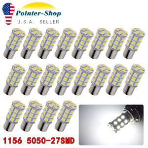 20x 1156 Ba15s Rv Trailer 27 Smd Pure White Led Interior Backup Light Bulbs 12v