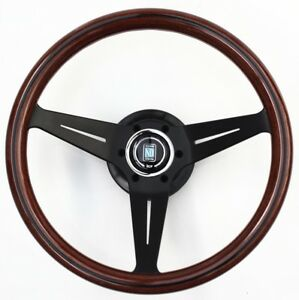Nardi Sport Rally Deep Corn Wood Steering Wheel Black Spoke Horn Button 350mm