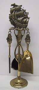 Old Brass Nautical Ship Fireplace Tool Set Four Piece Tool Small Decorative Boat