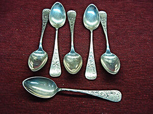 Antique Lily Engraved Pattern Whiting Gorham 6 Pc Sterling Teaspoons Nice