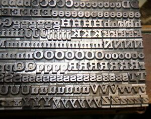 Metal Type Alphabet Numbers And Special 18 Pt Unknown Font 600 Pcs