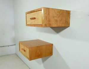 Single Cherry And Maple Floating Nightstand Bedside Table Mid Century Deco Style