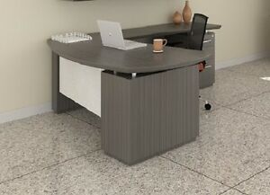 Mayline Sterling Series Textured Driftwood Executive Desk Stl7tdw
