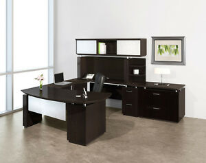 Mayline Sterling Stl5 Executive U Desk With Lateral File Cabinet