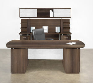Mayline Sterling Stl10 72 Bow Front Desk And Credenza Set