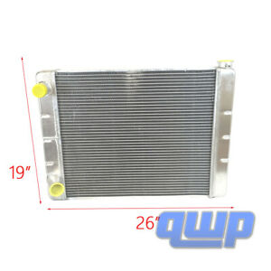 Ford Mopar Aluminum Racing Radiator 2 Row Double Pass 26 X19 X3 Universal New