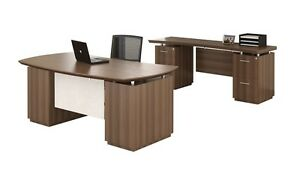 Mayline Sterling Stl9 Executive Pedestal Desk And Credenza Set In Tex