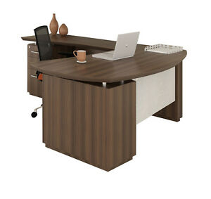 Mayline Sterling Series Stl8 L Shaped Desk With Textured Brown Sugar Finish