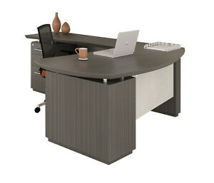 Mayline Sterling Series Stl8 L Shaped Desk With Textured Driftwood Fin