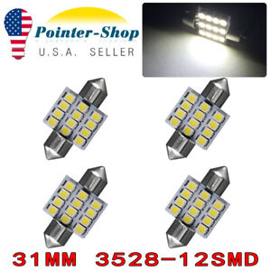 4x Cool White 31mm 1 22 12smd Festoon Led Dome License Lights Bulb De3175 3022