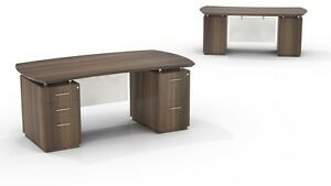 Mayline Sterling Sted72bf Executive Bow Front Desk With Storage