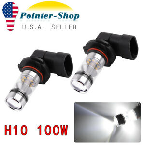 2x New White H10 9140 9145 High Power 100w Led Car Drl Fog Driving Light Bulbs