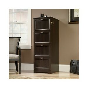 Tall Filing Cabinet 4 Drawer File Storage Wood Executive Office Furniture Lock