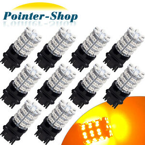 10x Amber Yellow 3157 60 Smd Led Light Bulbs For Car Turn Signal 3057 3457 4157