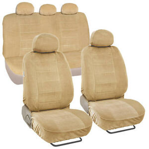 Car Seat Covers Encore Material Beige Cloth Set Of 9pc Padded