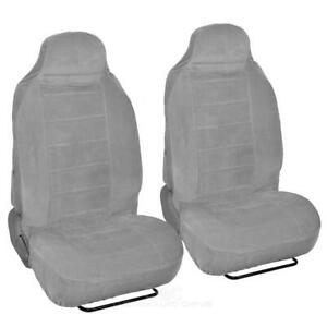 Gray Full Cloth High Back Auto Seat Covers Encore Style 2 Pc Premium