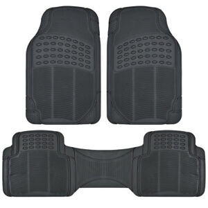 Heavy Duty All Weather 3 Pc Black Premium Rubber Floor Mats Fits Car Truck Suv