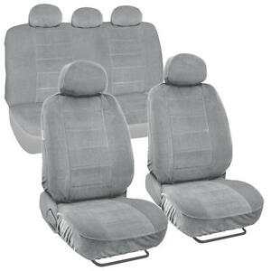 Thick Encore Fabric Car Seat Covers Full Interior For Auto Suv Van Light Gray