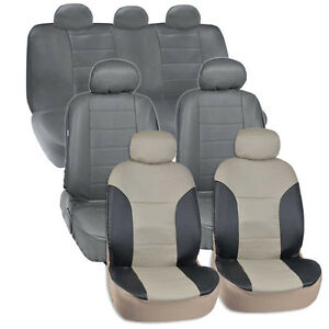 Van Suv Seat Covers 3 Row 2 Tone Color Pu Leather Full Covers Gray Black Begie