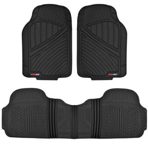 Motor Trend Flextough 3pc Rubber Floor Mats Thick Heavy Duty All Weather Black