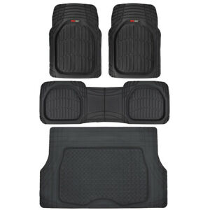 4pc All Weather Floor Mats Cargo Set Black Tough Rubber Motortrend Deep Dish