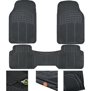 Car Floor Mats All Weather Semi Custom Fit Heavy Duty Trimmable Black 3pc