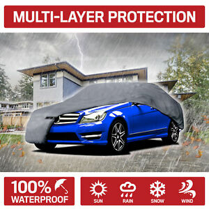 Xxl Car Cover Waterproof All Weather Ding Protection Multi Layers Auto Cover
