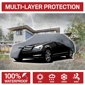Medium Full Car Cover Waterproof Uv Rain Snow Protection Breathable 4 Layer