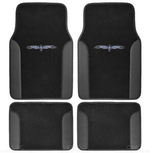 Tattoo Design Floor Mats For Car Suv Van 2 Tone 4 Piece Black Secure Backing