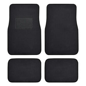 Solid Black Carpet Car Floor Mats Set Of 4 Driver Passenger And Utility Pads