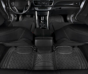 Car Floor Mats Black All Weather 3d Rubber 3 Pc For Car Truck Suv
