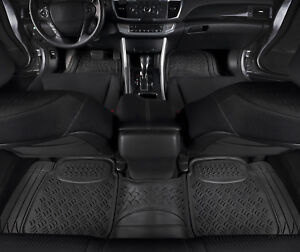 Car Floor Mats For All Weather Heavy Duty Rubber 3 Piece Black Trimmable