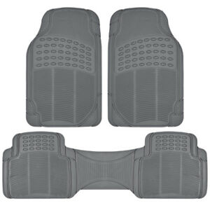 Rubber Car Floor Mats For All Weather Sedan Suv Truck 3 Pc Set Trimmable Gray