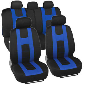 Blue On Black Striped Car Seat Covers Auto Interior Racing Sport Mesh Cloth