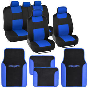 Car Seat Covers Set Black And Blue W Pu Leather Trim Carpet Floor Mats Pads