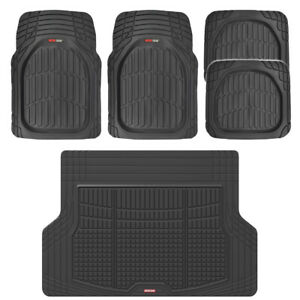 Black Car Floor Mats For Auto All Weather Heavy Duty Rubber W Cargo Liner