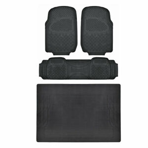 4pc Black Rubber Car Suv Floor Mat Heavy Duty All Weather Mats Liner Bpa Free