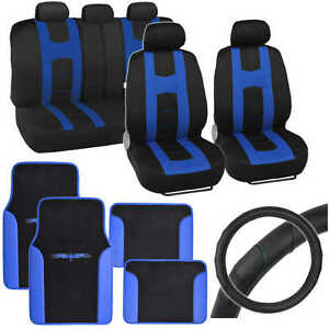 Blue Rome Sport Car Seat Cover 2 Tone Car Floor Mat Ergo Steering Wheel Cover