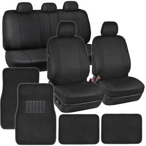 Pu Leather Car Seat Covers Carpet Floor Mats Set Full Interior Auto Truck Suv