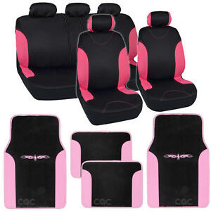 Two Tone Black Pink Accent Stripes Car Seat Covers Cute Interior Set 13pcs