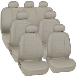 Van Suv Seat Covers 3 Row Pu Leather Side Armrest Airbag Compatible Beige